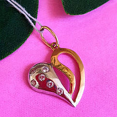 Золотой кулон Сердце - Кулон Сердечко из золота - Золотая подвеска Сердце