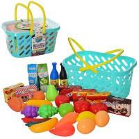 Продукты фрукты/овощи/сладости детский набор игрушечный XG1-12  29 предметов, в корзине 25*16*14см