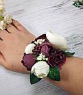 Бутоньерка для жениха и браслет для невесты в цвете марсала, фото 2