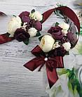 Бутоньерка для жениха и браслет для невесты в цвете марсала, фото 3