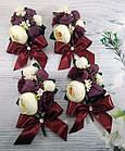 Бутоньерка для жениха и браслет для невесты в цвете марсала, фото 4