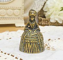 Старый коллекционный бронзовый колокольчик, Lady Bells, кринолиновая леди, бронза, Англия