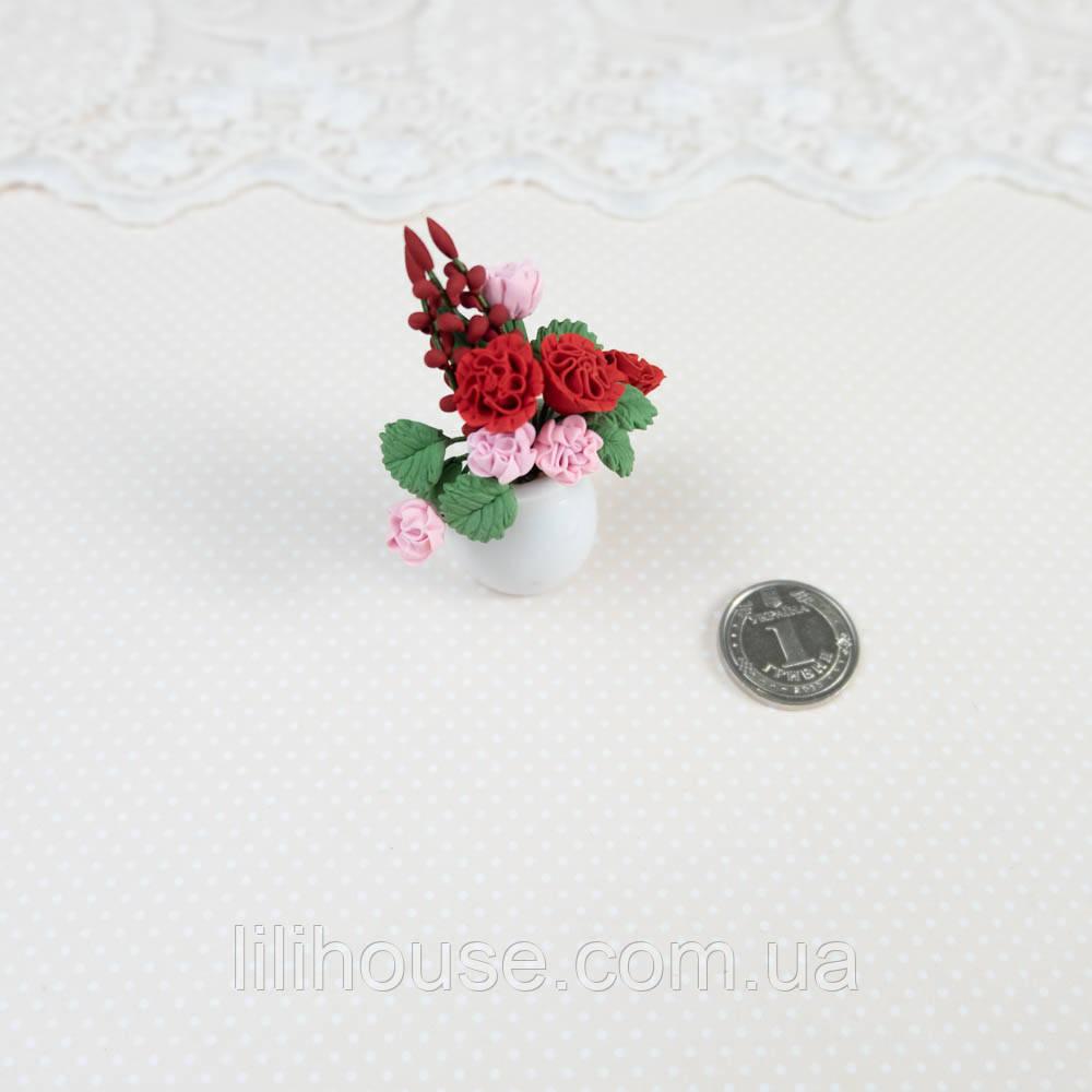 1:12 Миниатюра Керамический Кувшин с Цветами 5 см