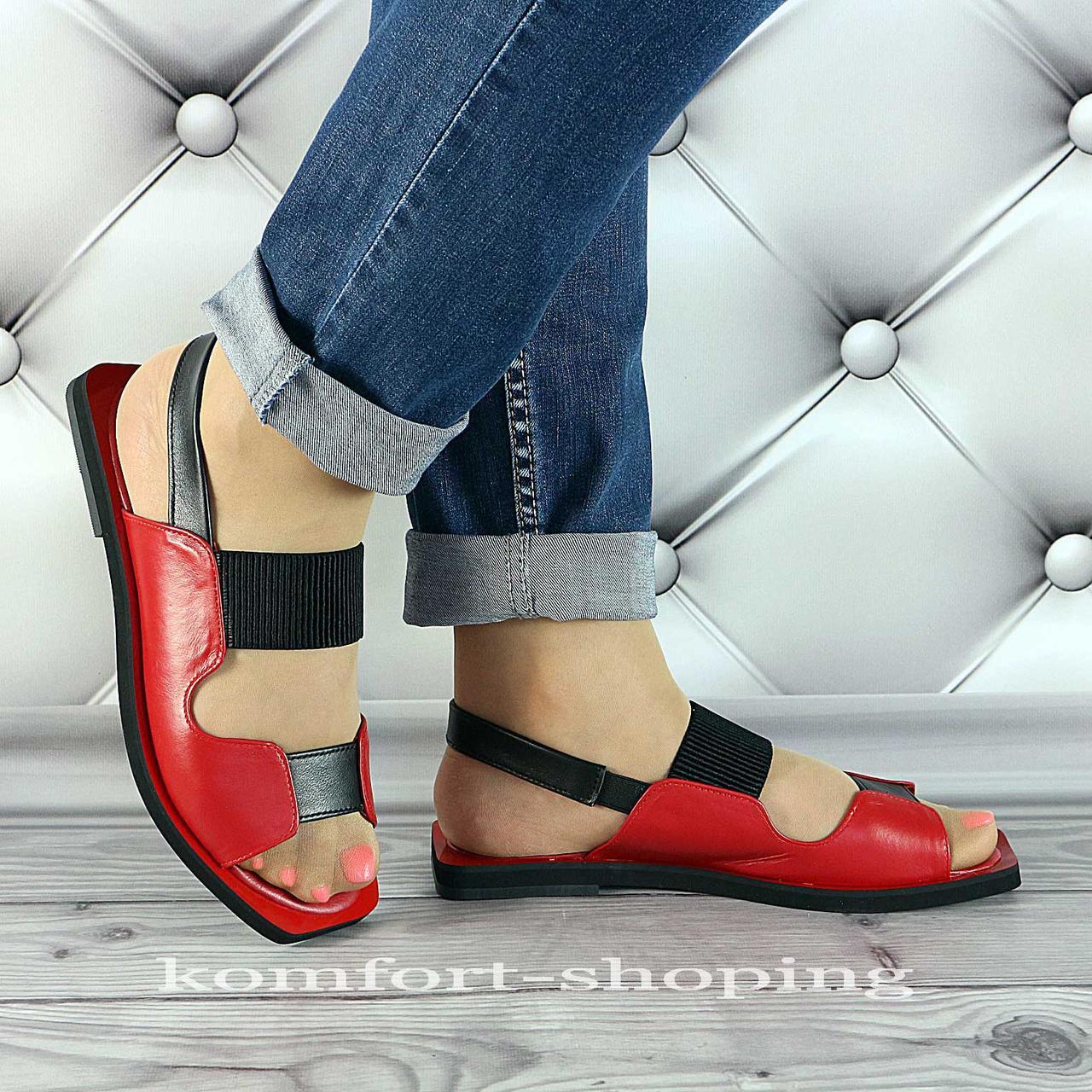 Женские босоножки кожаные, красный+черный V 1298