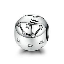 "Шарм ""Знак зодиака Водолей"" серебро 925 проба, кубический цирконий"