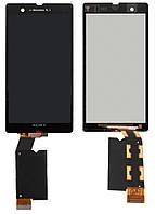 Дисплейный модуль (дисплей + сенсор) для Sony Xperia Z C6602 / C6603 / C6606, черный, оригинал