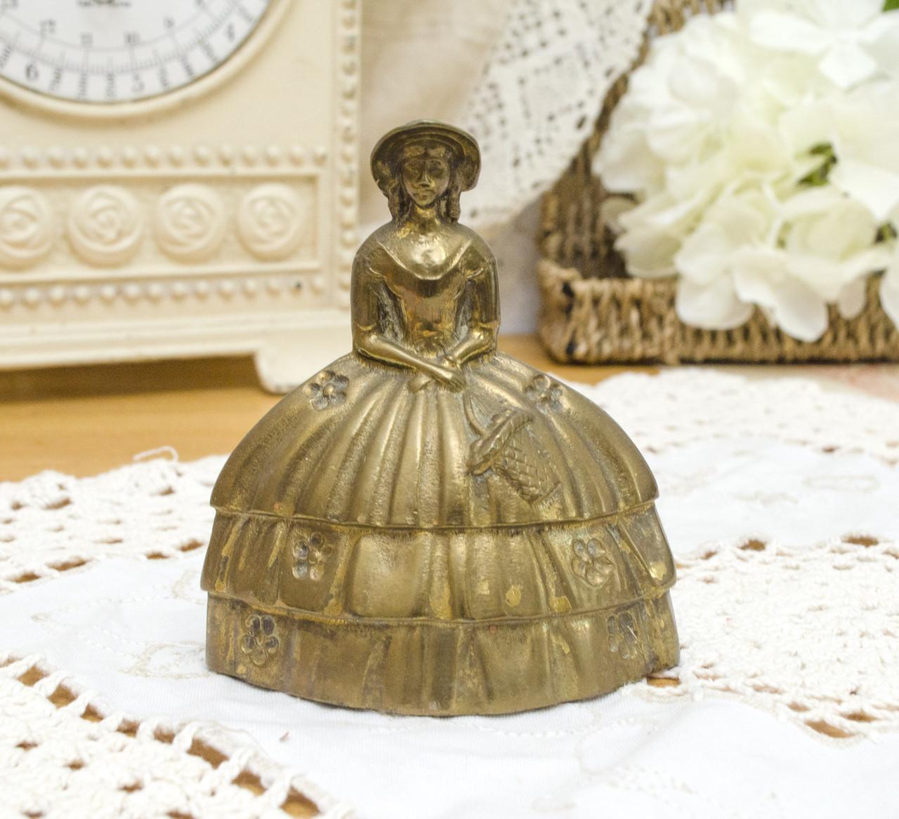 Коллекционный бронзовый колокольчик, Кринолиновая леди, бронза, Англия