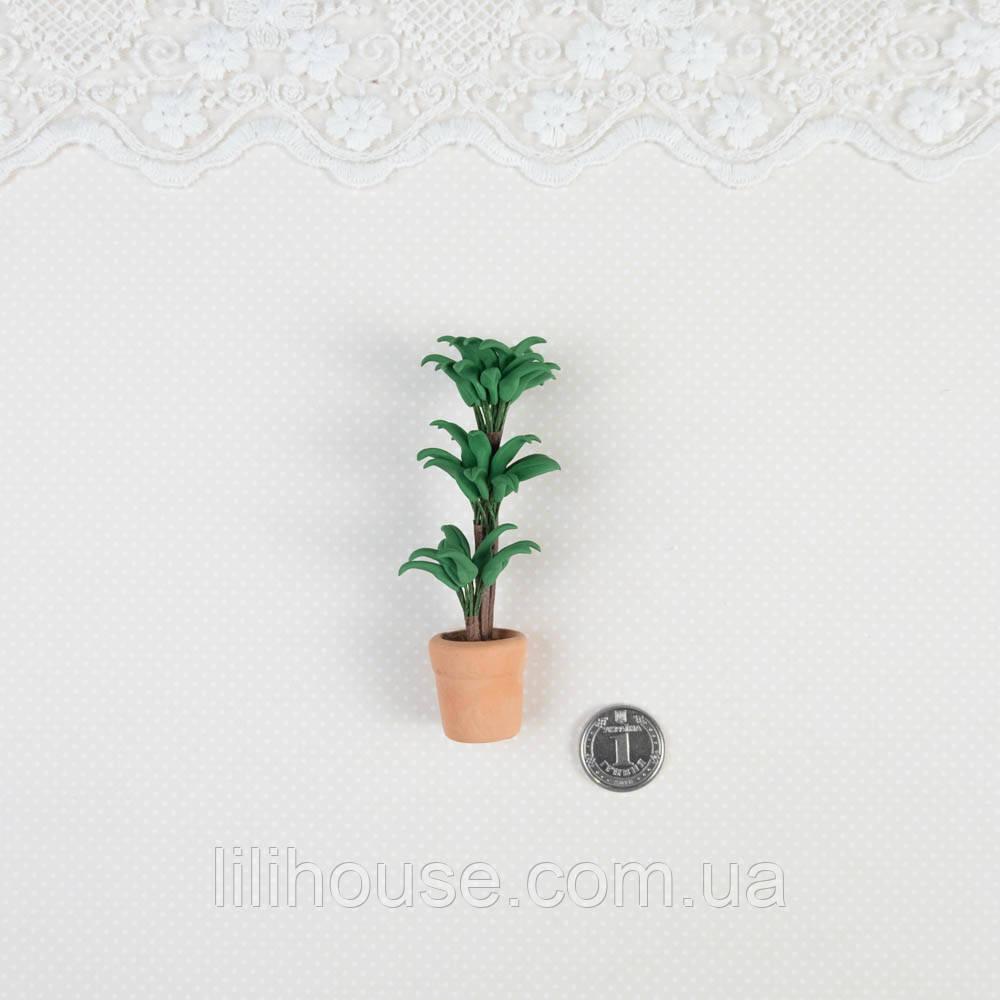 1:12 Миниатюра Керамический Горшок с Цветком Высокий 8 см
