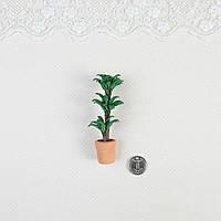 """1:12 Миниатюра """"Керамический горшок с цветком высокий"""", 8 см"""