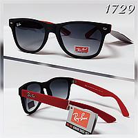 Новинка!  Черные солнцезащитные  женские очки  Ray Ban с красными дужками, матовые (RB2140)
