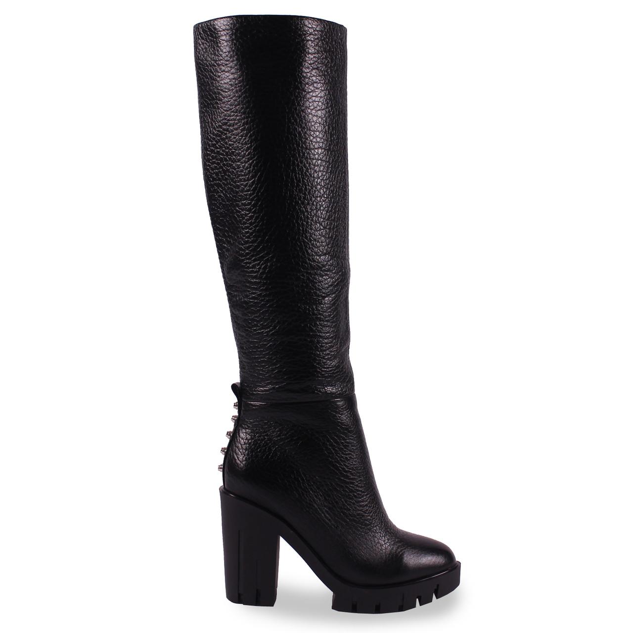 771cf78faa7c Элегантные женские сапоги Angelo Vani (кожаные, черные, зимние, теплые, на  каблуке)