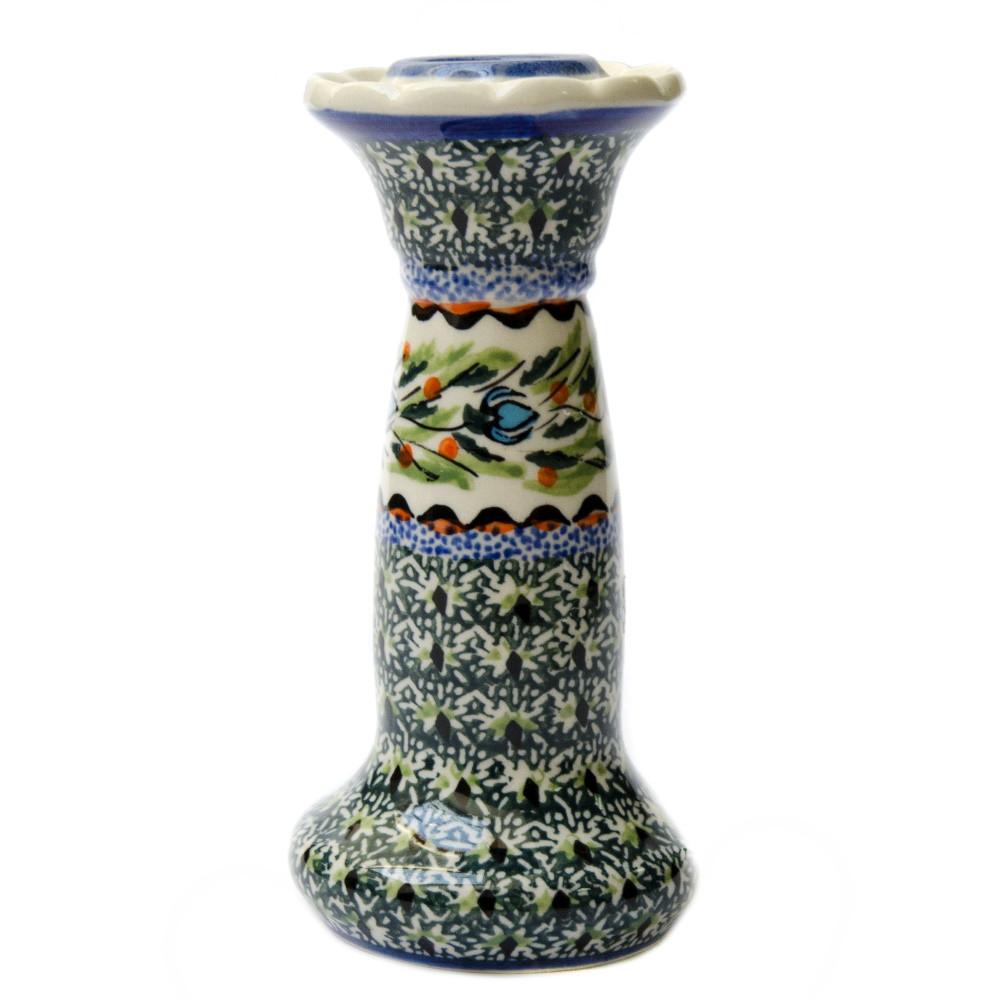 Керамический подсвечник на подставке с ручкой 14 Оливковый, Бутоны
