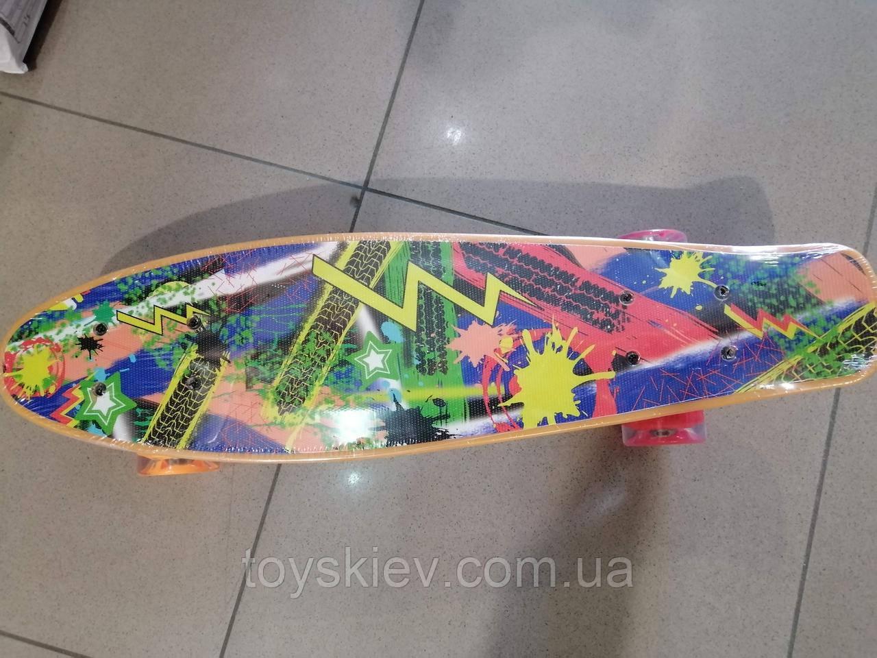 Скейт Пенни борд (Penny board) 820-32 с рисунком, светящийся