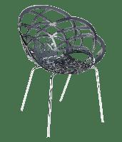 Кресло Papatya Flora-ML прозрачно-дымчатое сиденье, ножки хром, фото 1