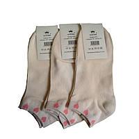 Носки короткие женские сердечки разных цветов кремовый