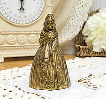 Английский бронзовый колокольчик, английская аристократка, бронза, Англия, 10 см