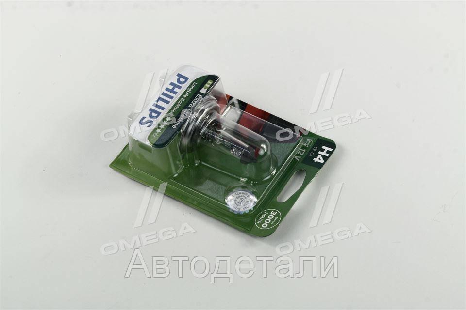 Лампа накаливания H4 12V 60/55W  P43t-38 LongerLife Ecovision 1шт blister (пр-во Philips) 12342LLECOB1