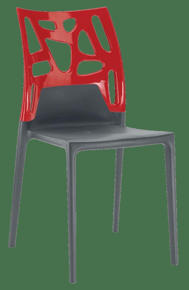 Стул Papatya Ego-Rock антрацит сиденье, верх красный