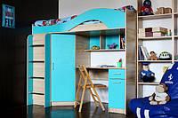 Детская Кровать-чердак со столом, шкафом и тумбами КЧО 165