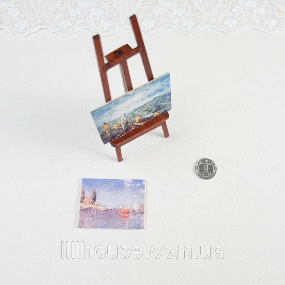 1:12 Миниатюра Мольберт с Картинами 12 см