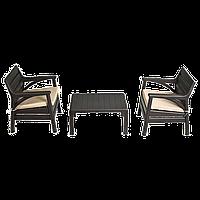Набор мебели Irak Plastik Барселона (2 кресла + столик) тёмно-коричневый