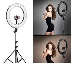 Профессиональная кольцевая лампа 45 см. диаметр LED Soft Ring Light HQ-18 с+штатив (200см), фото 3