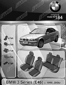Авточехлы BMW 3 E46 1998-2006 (з/сп.цельная) EMC Elegant