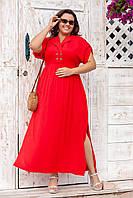 Платье женское прямое длинное с коротким рукавом красного цвета
