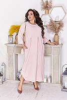 Платье женское лен длинна миди больших размеров пудровое