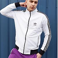 Кофта спортивная мужская на молнии Adidas белая, олимпийка мужская адидас