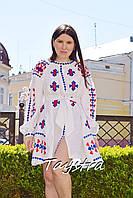 Белое платье вышиванка  белое платье короткое, вышиванка лен, вышитое платье бохо-шик