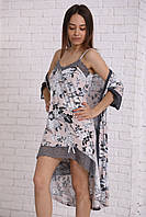 Вискозный  халат с ночной сорочкой, размер М, Л,Хл ,халат под пояс,сорочка на тонкой регулируемой бретели