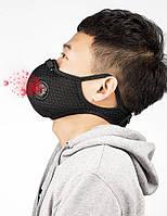 Защитная вело маска FFP2 | KN95 респиратор со сменным угольным фильтром Black (6060303)