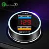 Автомобільний зарядний пристрій 2 х USB 3.1 А + вольтметр, швидка зарядка QC 3,0, фото 4