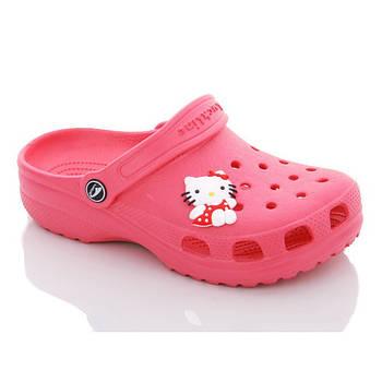Кроксы шлепанцы для девочки с джибитсом Hello Kitty. Босоножки пляжные. Резиновые тапочки CROCS  (красные)
