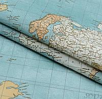 Декоративная ткань Карта мира бирюзово-голубой