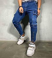 Мужские джинсы slim демисезонные синие