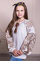 """Детская блузка для девочки со светло-коричневой вышивкой """"Дерево"""" серый лен"""