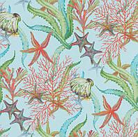 Декоративная ткань Коралы фон голубой
