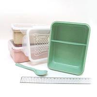 """IMG_4330 ланч бокс контейнер для еды """"Классик"""" 2 отделения вилка + ложка отделения,ложка. пластик,СВЧ, mix3"""