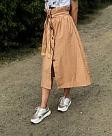 Юбка длинная женская коричневая для девушек на лето хлопок