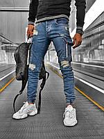 Мужские джинсы slim демисезонные серые