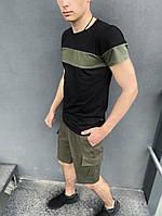 Летний мужской костюм черная футболка и шорты хаки
