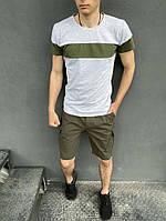Летний мужской костюм серая футболка и шорты хаки