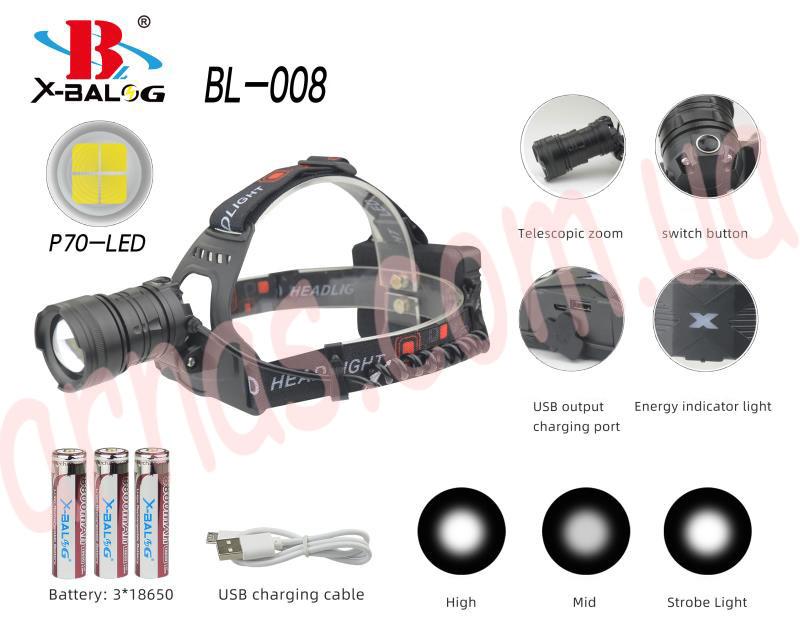 Аккумуляторный налобный фонарь BL-008-P90
