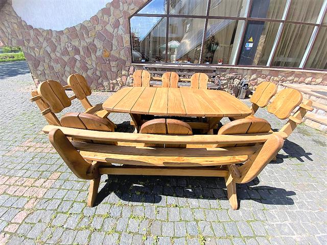 Мебель из массива дуба 1750х1100, комплект Oak Furniture 01. Стол и 4 лавки из дуба от производителя