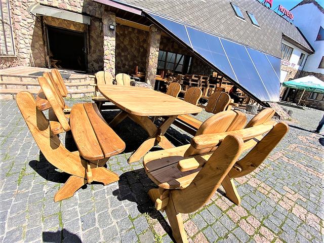 Мебель из массива дуба 1750х1100, комплект Oak Furniture 01. Стол и 4 лавки из дуба от производителя 2