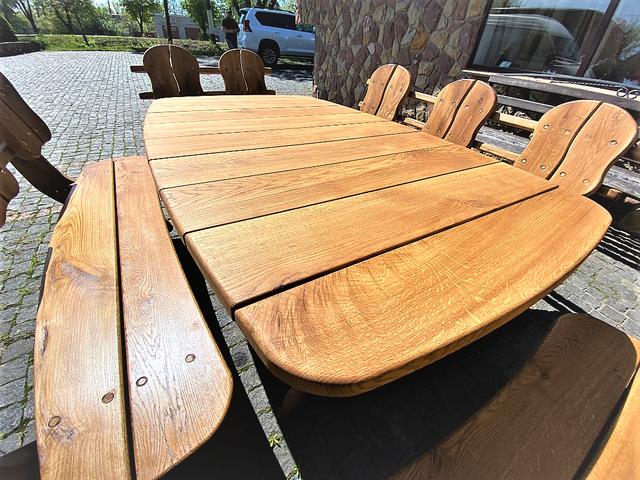 Мебель из массива дуба 1750х1100, комплект Oak Furniture 01. Стол и 4 лавки из дуба от производителя 3