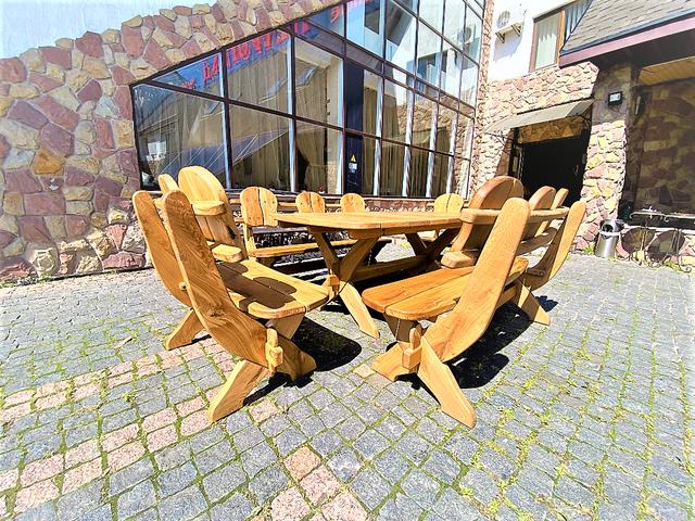 Мебель из массива дуба 1750х1100, комплект Oak Furniture 01. Стол и 4 лавки из дуба от производителя 4