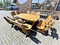 Мебель из массива дуба 1750х1100, комплект Oak Furniture 01. Стол и 4 лавки из дуба от производителя, фото 1